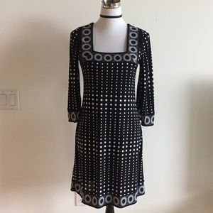 WHBM Black/White Polka Dot Flare Sleeves Dress